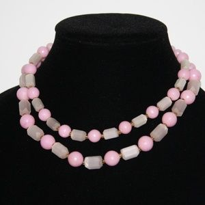Vintage pink and Selenite double layered necklace